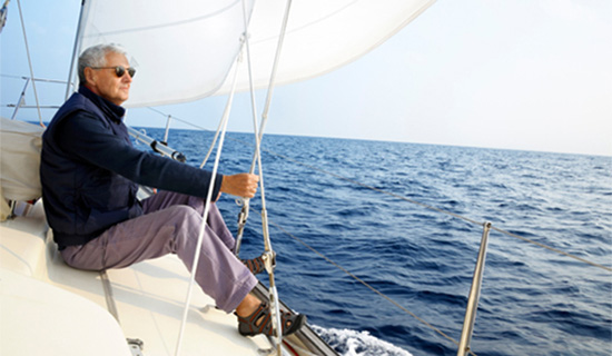 Man Sailing During Retirement