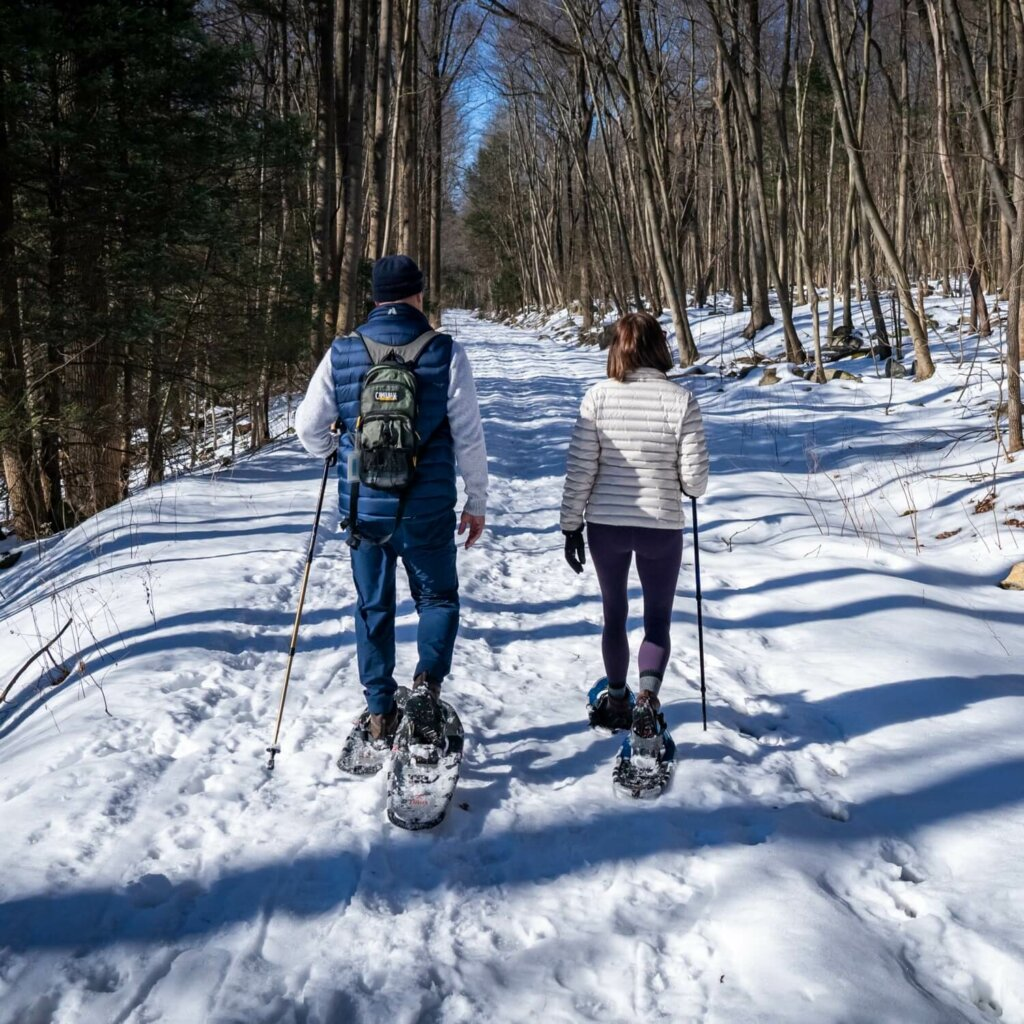 couple showshoeing through the woods