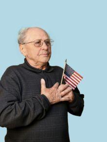 Senior with Flag