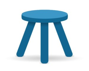 Illustration of a stool wtih three even legs