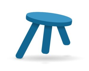 Illustration of a stool wtih three uneven legs falling over